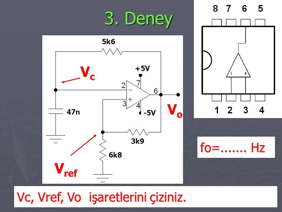 3. Deney Vc Vo Vref fo=....... Hz Vc, Vref, Vo işaretlerini çiziniz.
