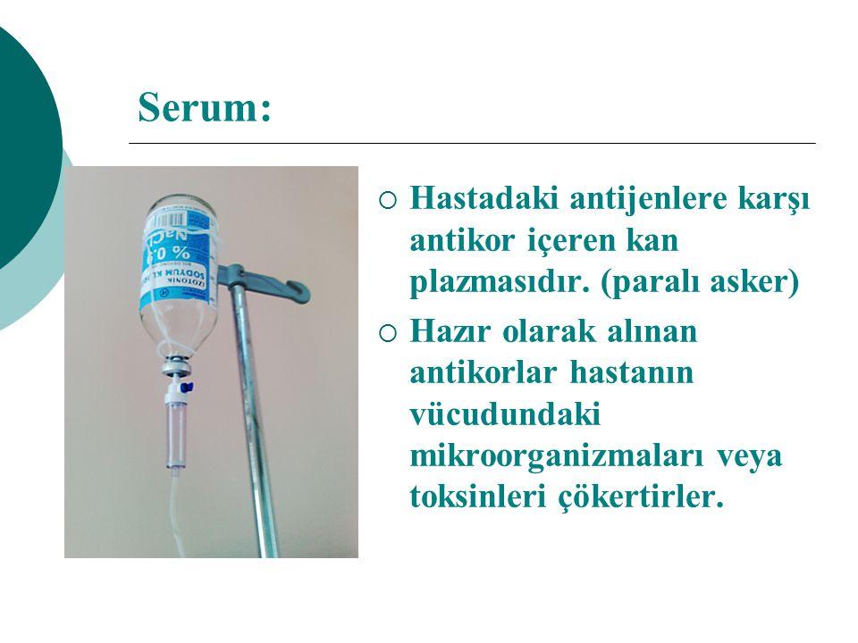 Serum: Hastadaki antijenlere karşı antikor içeren kan plazmasıdır. (paralı asker)
