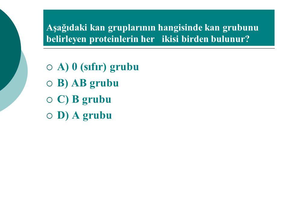 A) 0 (sıfır) grubu B) AB grubu C) B grubu D) A grubu