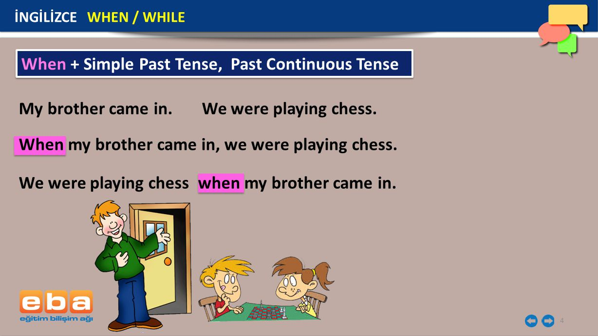 When + Simple Past Tense, Past Continuous Tense