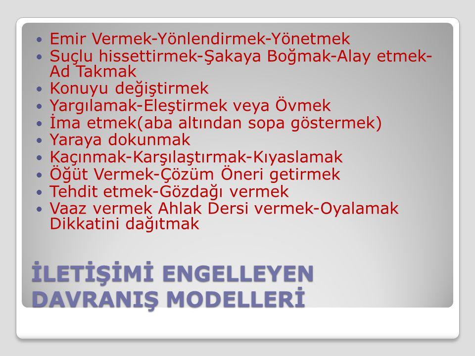 İLETİŞİMİ ENGELLEYEN DAVRANIŞ MODELLERİ