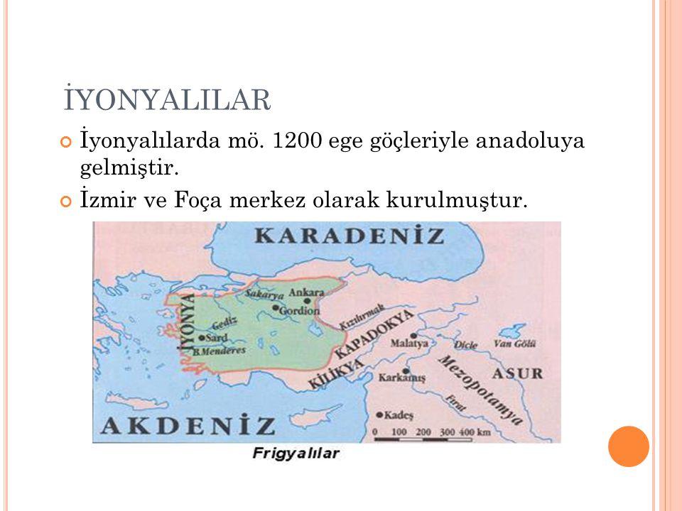 İYONYALILAR İyonyalılarda mö. 1200 ege göçleriyle anadoluya gelmiştir.