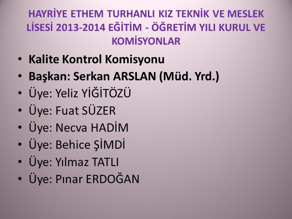 Kalite Kontrol Komisyonu Başkan: Serkan ARSLAN (Müd. Yrd.)