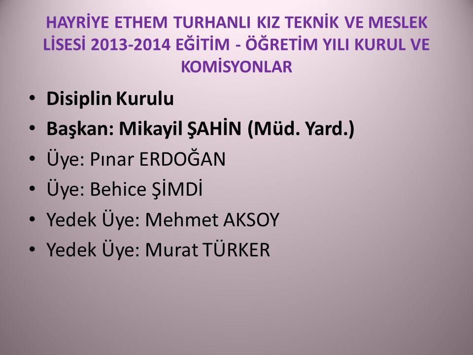Başkan: Mikayil ŞAHİN (Müd. Yard.) Üye: Pınar ERDOĞAN