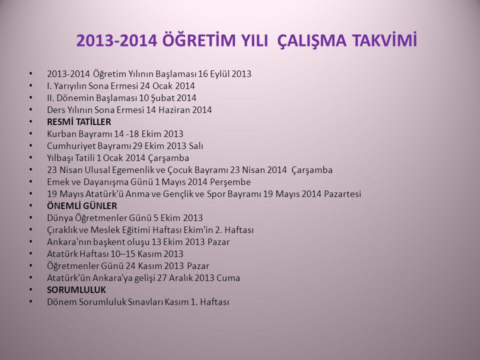 2013-2014 ÖĞRETİM YILI ÇALIŞMA TAKVİMİ