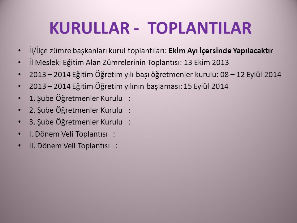 KURULLAR - TOPLANTILAR