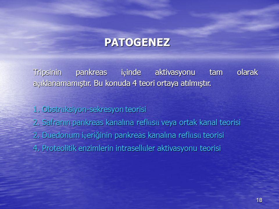 PATOGENEZ Tripsinin pankreas içinde aktivasyonu tam olarak açıklanamamıştır. Bu konuda 4 teori ortaya atılmıştır.
