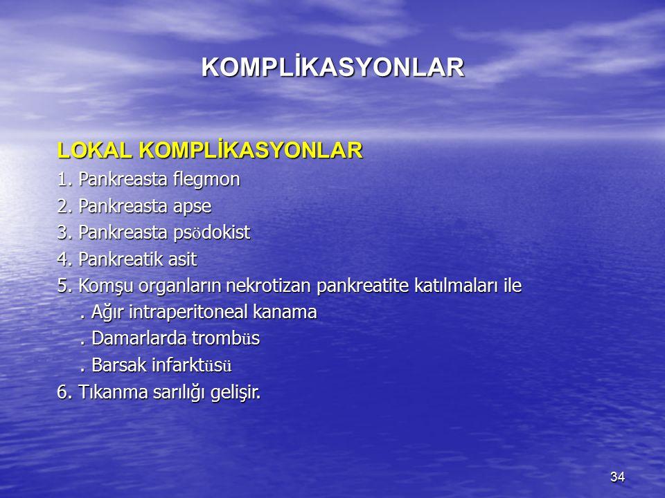 KOMPLİKASYONLAR LOKAL KOMPLİKASYONLAR 1. Pankreasta flegmon