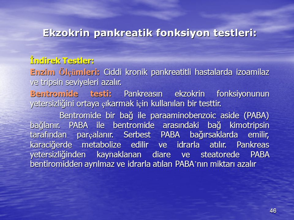 Ekzokrin pankreatik fonksiyon testleri: