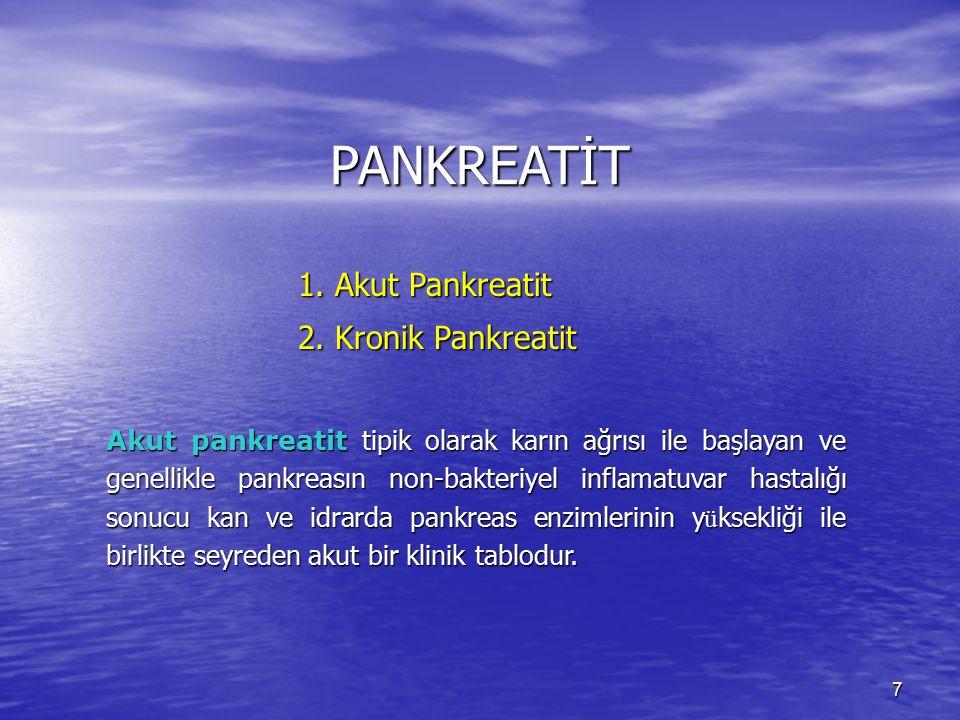 PANKREATİT 2. Kronik Pankreatit 1. Akut Pankreatit