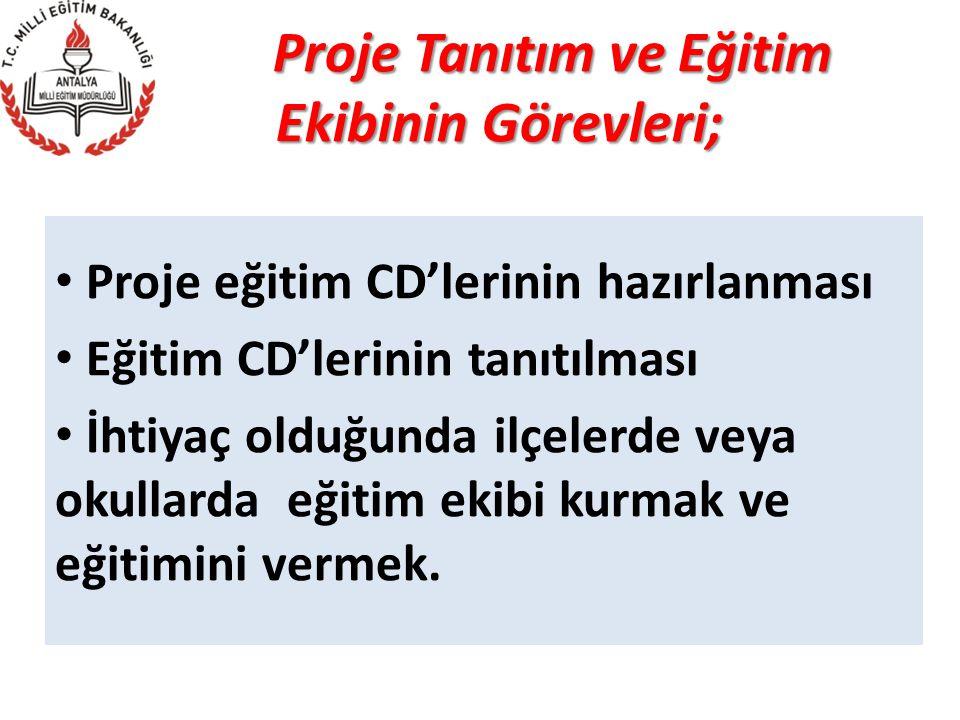Proje Tanıtım ve Eğitim Ekibinin Görevleri;