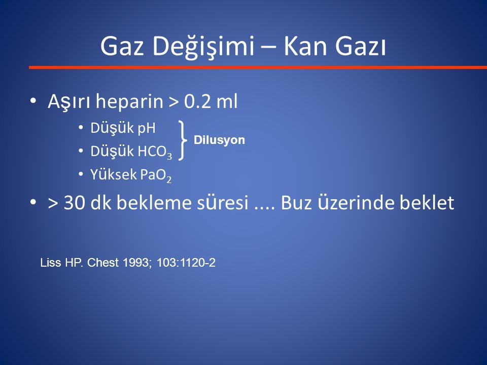 Gaz Değişimi – Kan Gazı Aşırı heparin > 0.2 ml