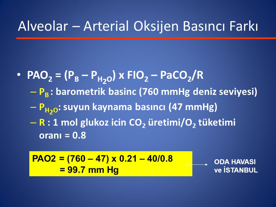 Alveolar – Arterial Oksijen Basıncı Farkı