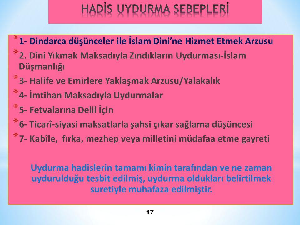 HADİS UYDURMA SEBEPLERİ