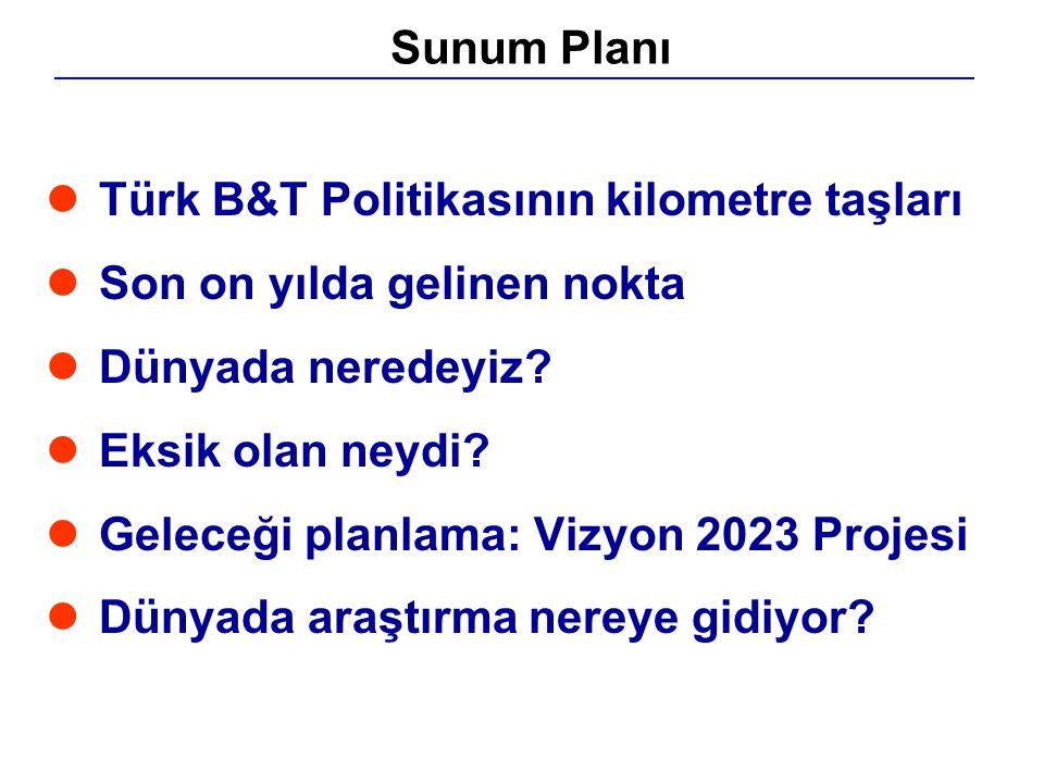 Sunum Planı Türk B&T Politikasının kilometre taşları. Son on yılda gelinen nokta. Dünyada neredeyiz