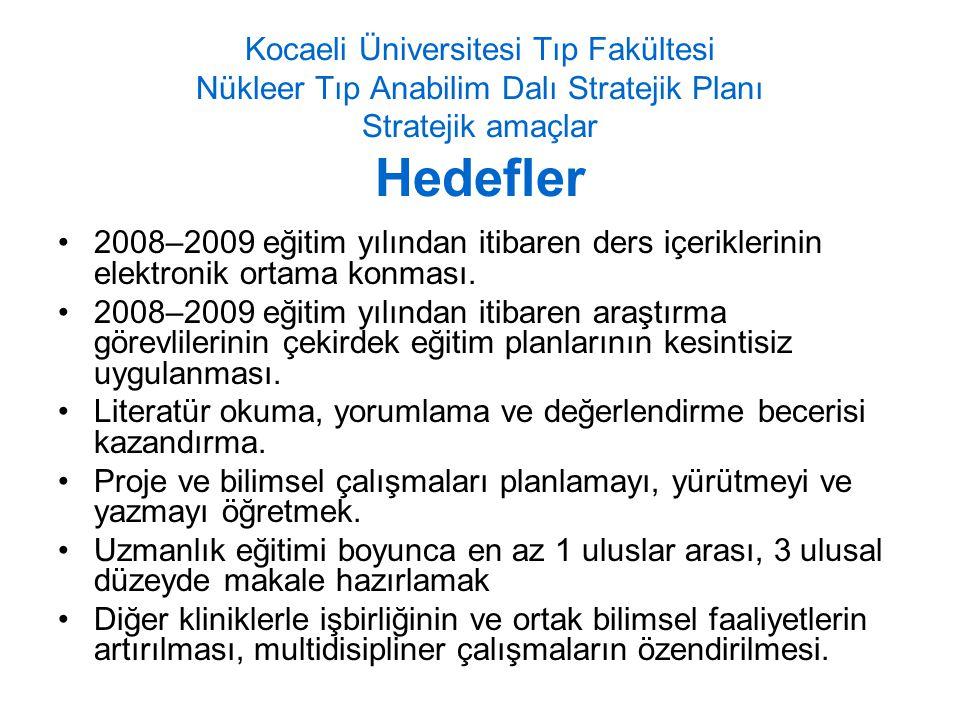Kocaeli Üniversitesi Tıp Fakültesi Nükleer Tıp Anabilim Dalı Stratejik Planı Stratejik amaçlar Hedefler