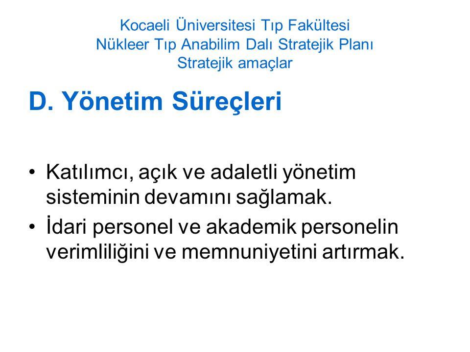 Kocaeli Üniversitesi Tıp Fakültesi Nükleer Tıp Anabilim Dalı Stratejik Planı Stratejik amaçlar