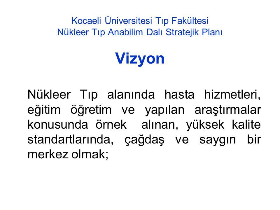 Kocaeli Üniversitesi Tıp Fakültesi Nükleer Tıp Anabilim Dalı Stratejik Planı Vizyon