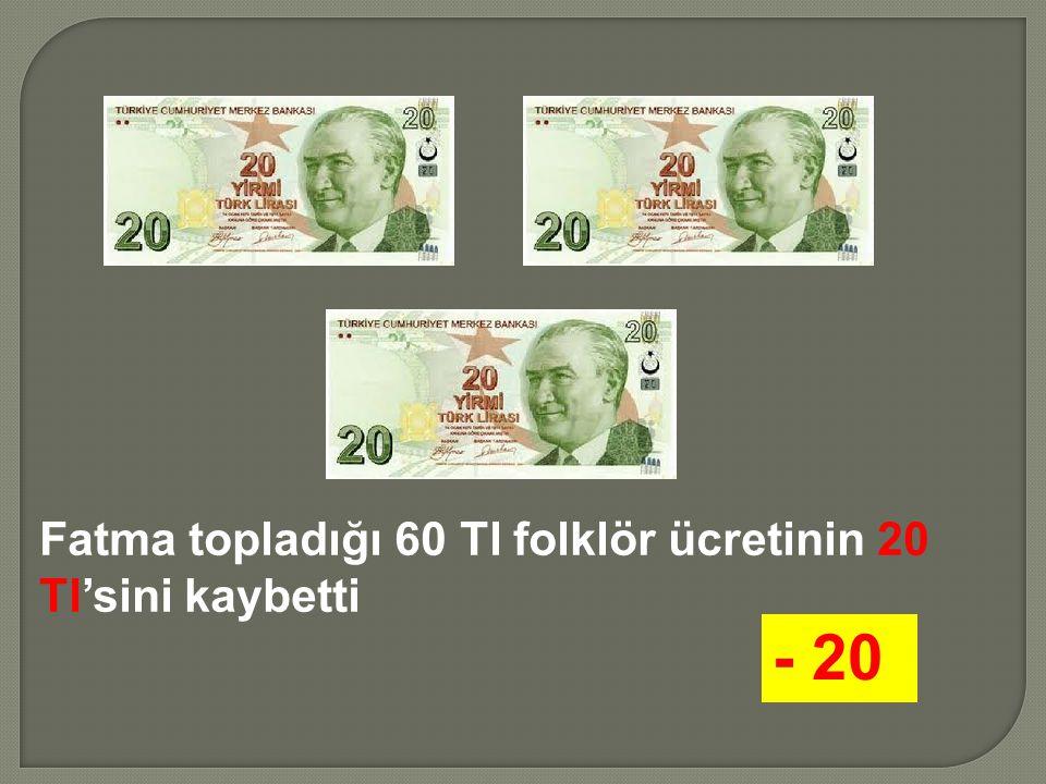 Fatma topladığı 60 Tl folklör ücretinin 20 Tl'sini kaybetti