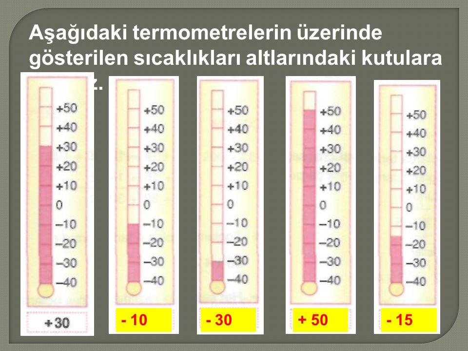 Aşağıdaki termometrelerin üzerinde gösterilen sıcaklıkları altlarındaki kutulara yazınız.
