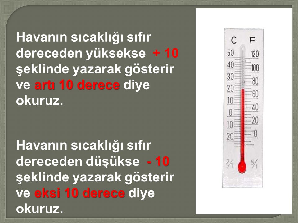 Havanın sıcaklığı sıfır dereceden yüksekse + 10 şeklinde yazarak gösterir ve artı 10 derece diye okuruz.