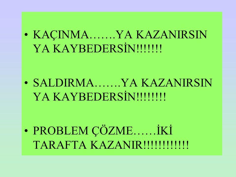 KAÇINMA…….YA KAZANIRSIN YA KAYBEDERSİN!!!!!!!