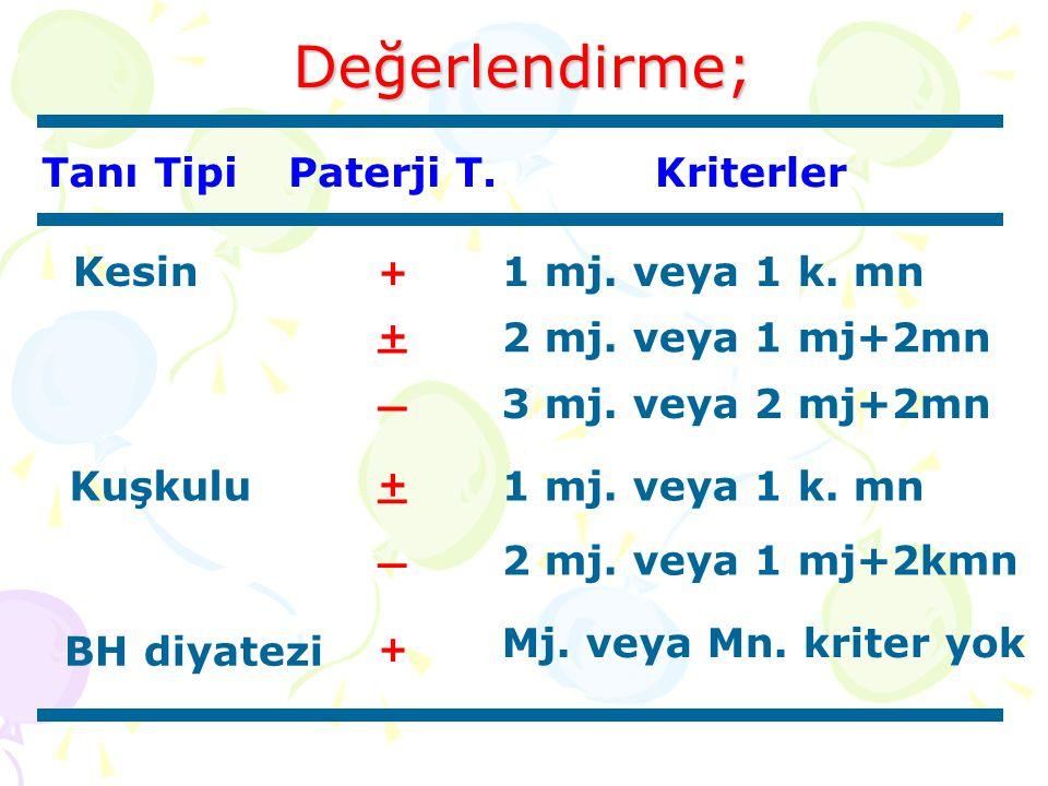 Değerlendirme; Tanı Tipi Paterji T. Kriterler Kesin 1 mj. veya 1 k. mn