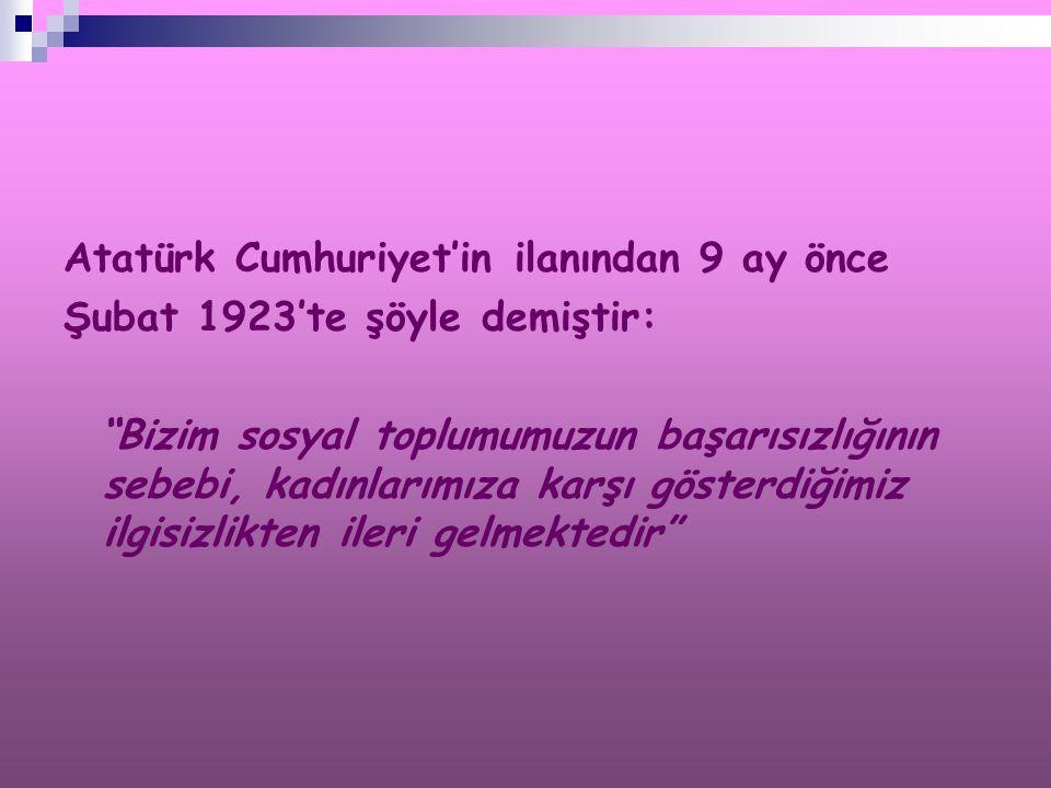 Atatürk Cumhuriyet'in ilanından 9 ay önce