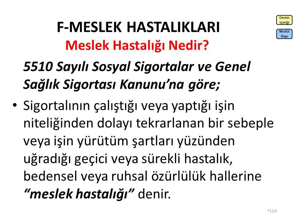 F-MESLEK HASTALIKLARI