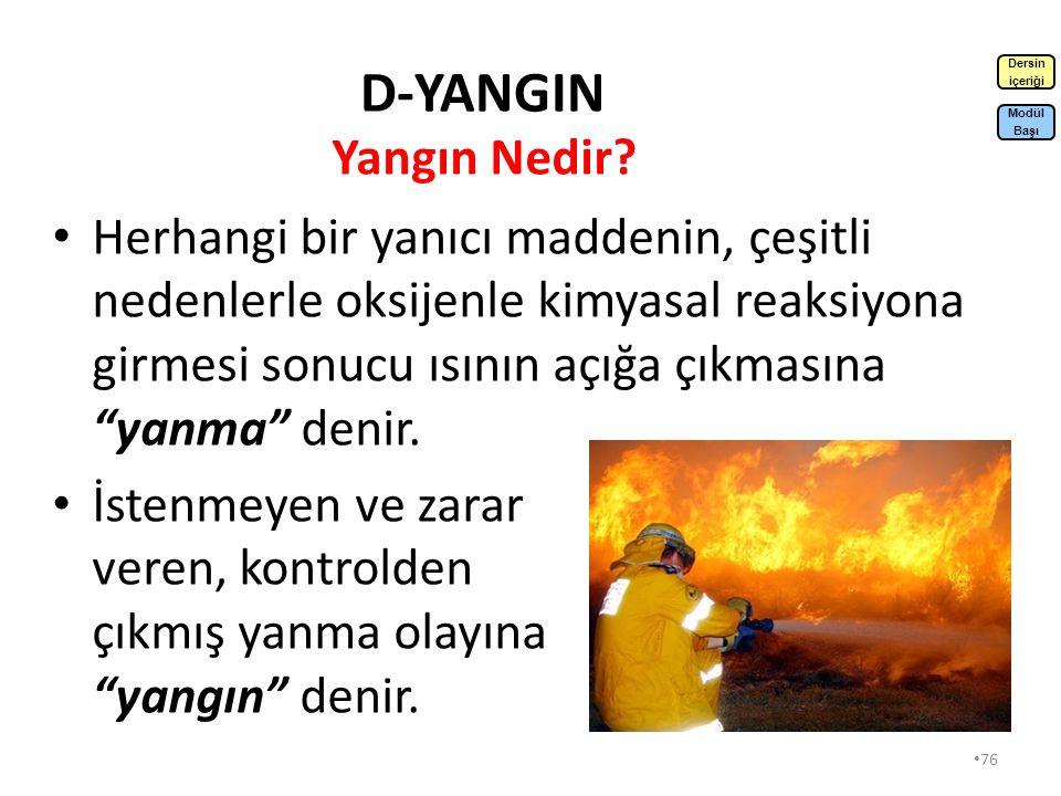 D-YANGIN Dersin. içeriği. Yangın Nedir