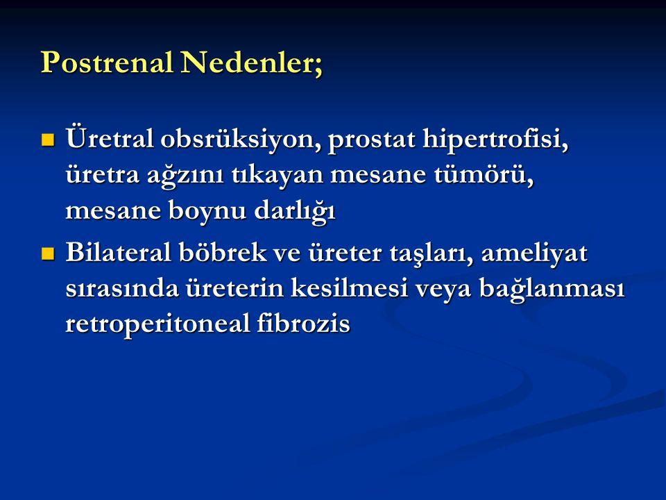 Postrenal Nedenler; Üretral obsrüksiyon, prostat hipertrofisi, üretra ağzını tıkayan mesane tümörü, mesane boynu darlığı.