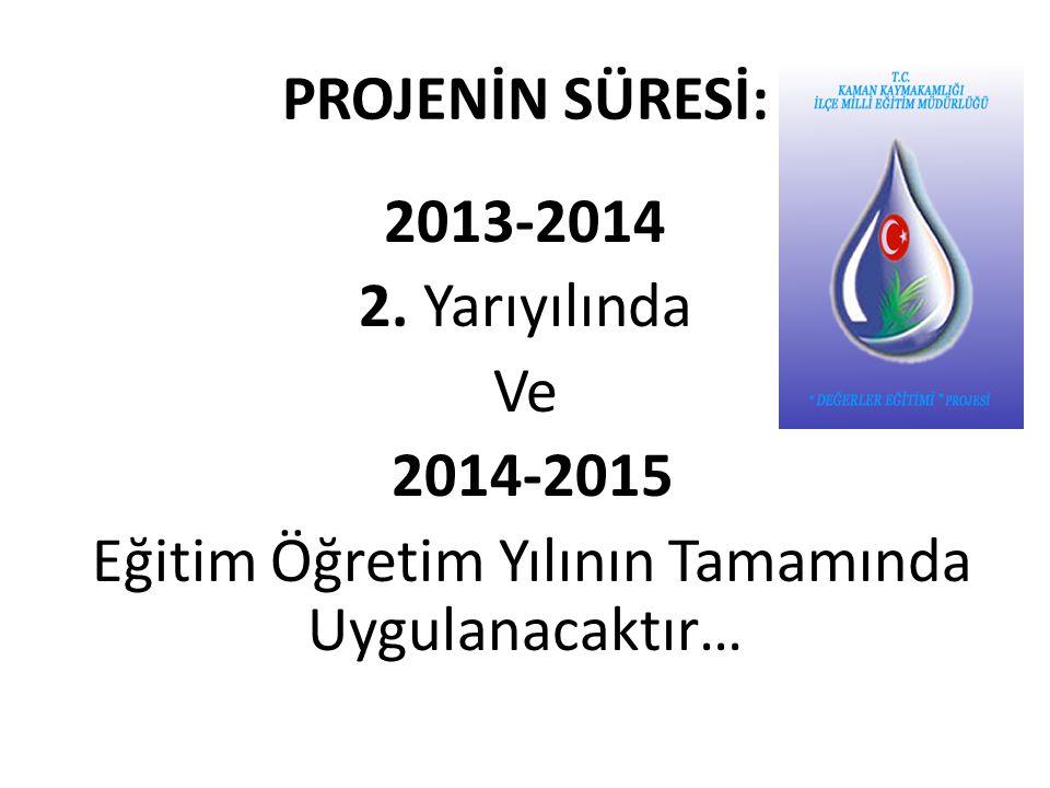 PROJENİN SÜRESİ: 2013-2014 2.