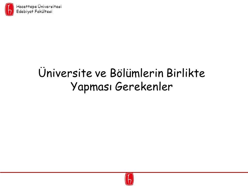 Üniversite ve Bölümlerin Birlikte