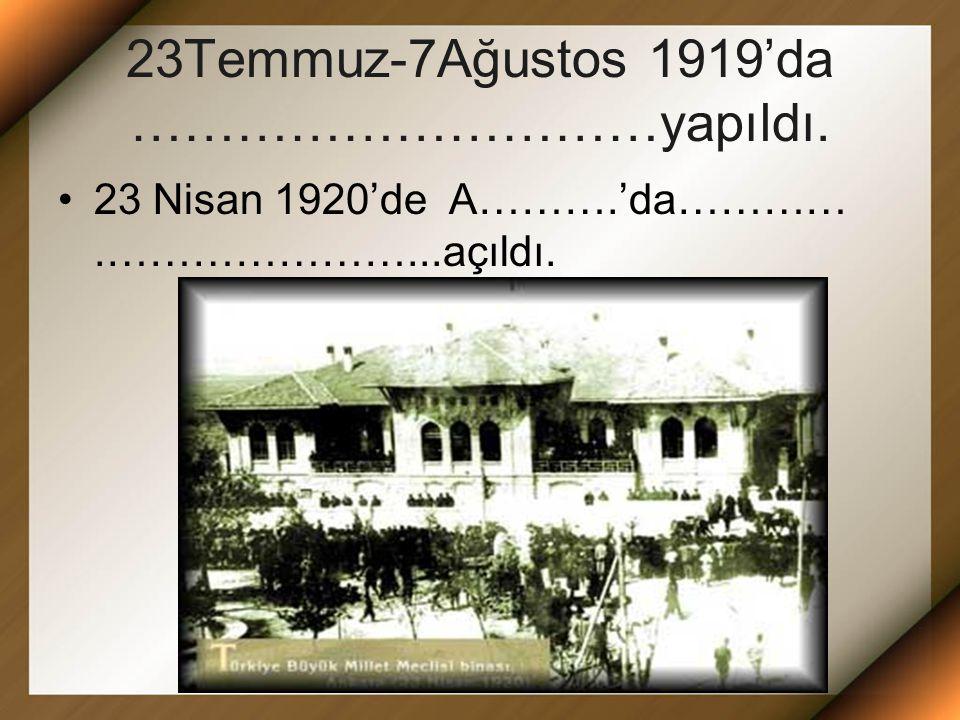 23Temmuz-7Ağustos 1919'da …………………………yapıldı.