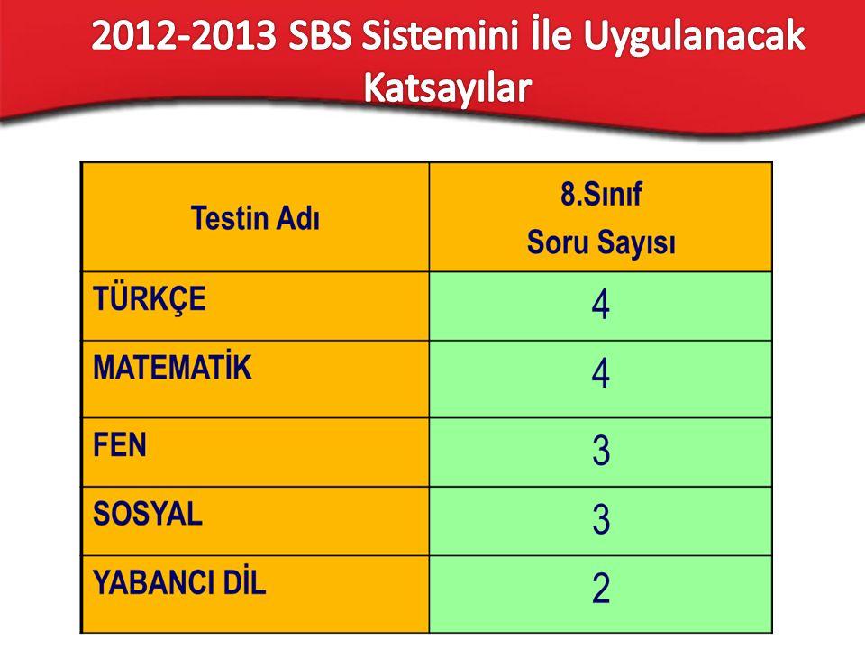 2012-2013 SBS Sistemini İle Uygulanacak Katsayılar