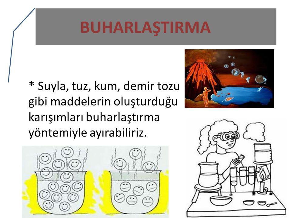 BUHARLAŞTIRMA * Suyla, tuz, kum, demir tozu gibi maddelerin oluşturduğu karışımları buharlaştırma yöntemiyle ayırabiliriz.