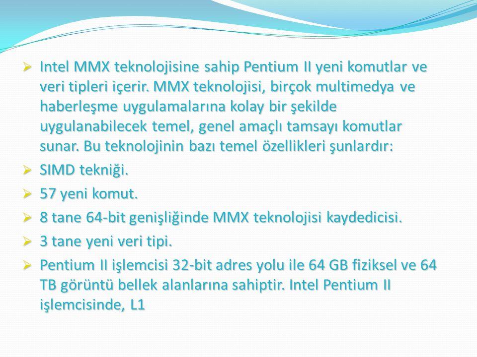 Intel MMX teknolojisine sahip Pentium II yeni komutlar ve veri tipleri içerir. MMX teknolojisi, birçok multimedya ve haberleşme uygulamalarına kolay bir şekilde uygulanabilecek temel, genel amaçlı tamsayı komutlar sunar. Bu teknolojinin bazı temel özellikleri şunlardır: