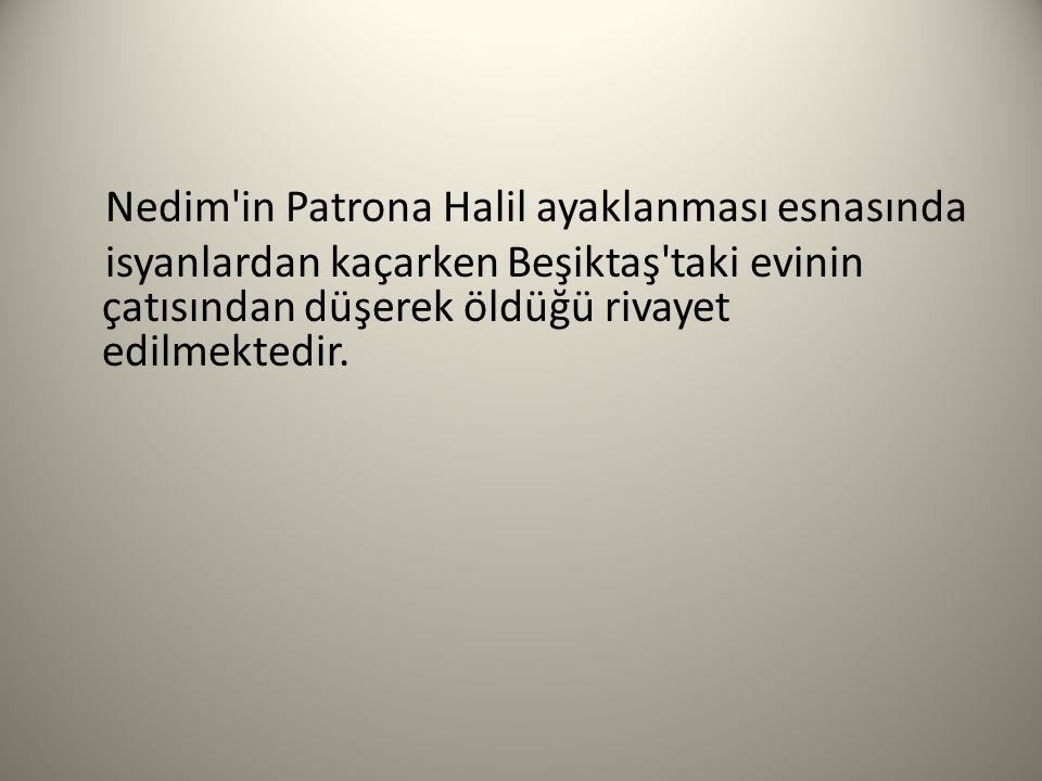 Nedim in Patrona Halil ayaklanması esnasında isyanlardan kaçarken Beşiktaş taki evinin çatısından düşerek öldüğü rivayet edilmektedir.