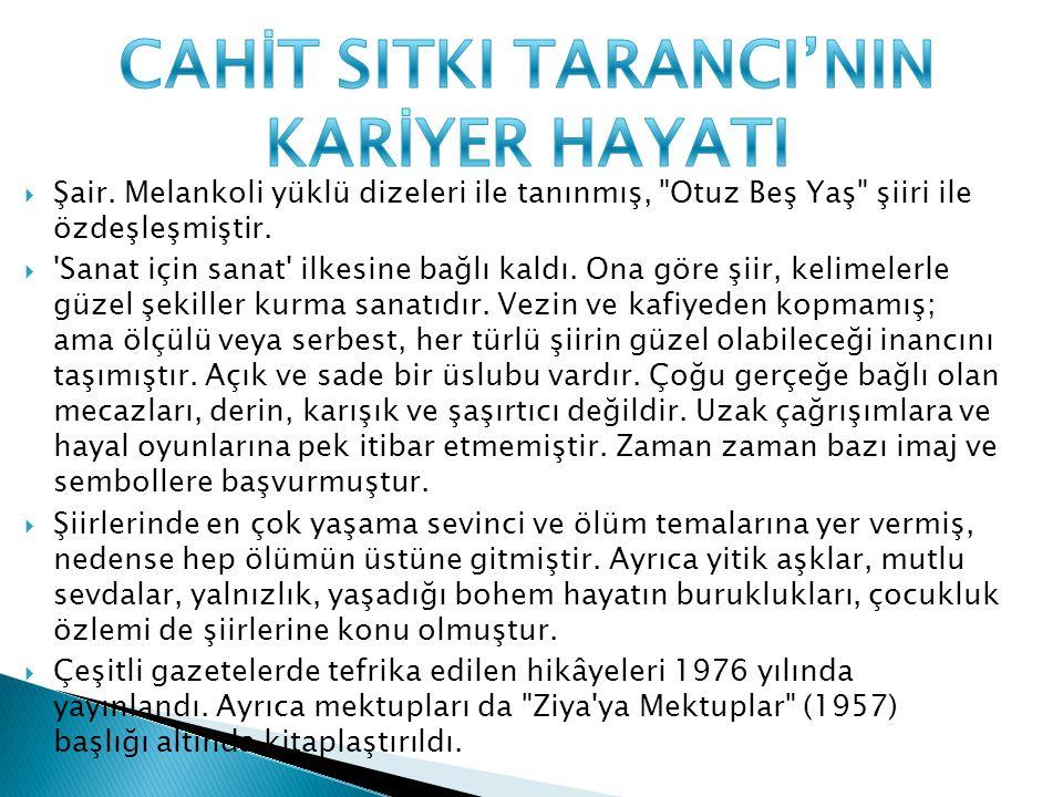 CAHİT SITKI TARANCI'NIN KARİYER HAYATI