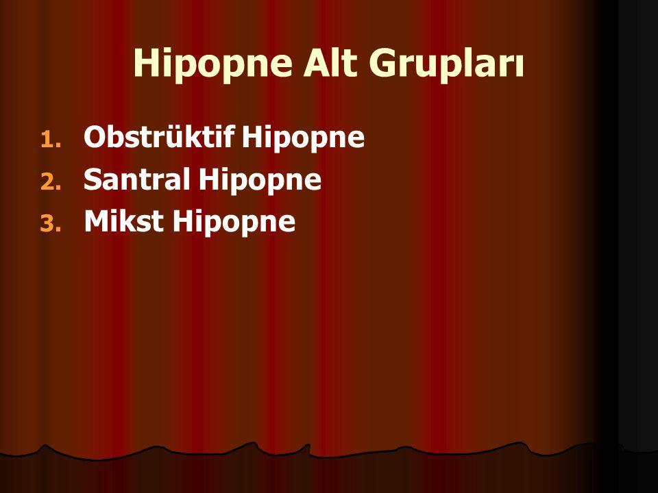 Hipopne Alt Grupları Obstrüktif Hipopne Santral Hipopne Mikst Hipopne