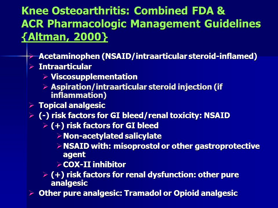 Knee Osteoarthritis: Combined FDA & ACR Pharmacologic Management Guidelines {Altman, 2000}