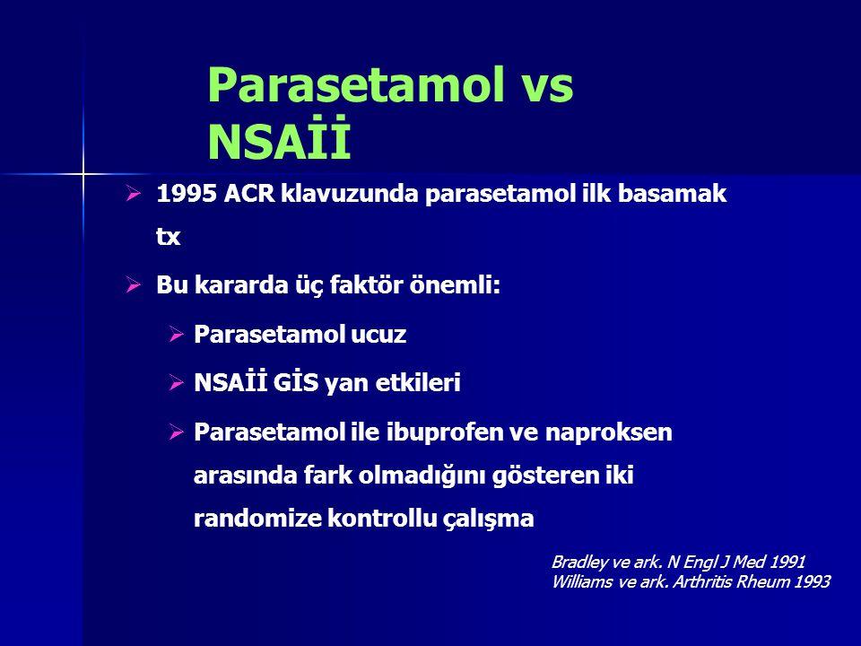 Parasetamol vs NSAİİ 1995 ACR klavuzunda parasetamol ilk basamak tx
