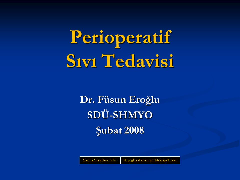Perioperatif Sıvı Tedavisi