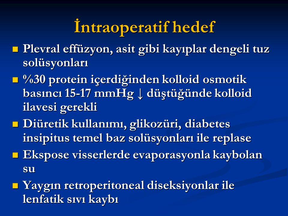 İntraoperatif hedef Plevral effüzyon, asit gibi kayıplar dengeli tuz solüsyonları.
