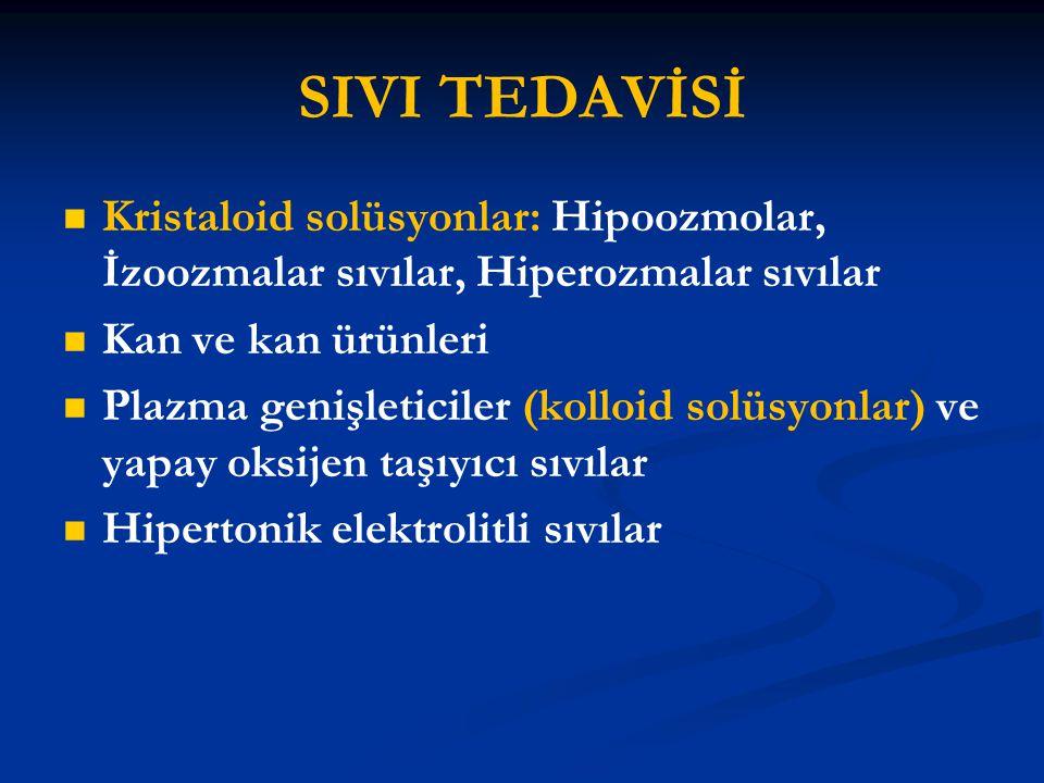 SIVI TEDAVİSİ Kristaloid solüsyonlar: Hipoozmolar, İzoozmalar sıvılar, Hiperozmalar sıvılar. Kan ve kan ürünleri.