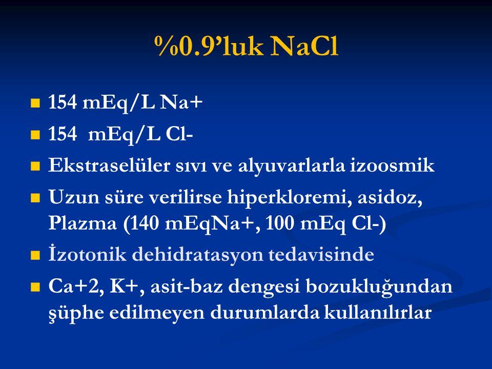 %0.9'luk NaCl 154 mEq/L Na+ 154 mEq/L Cl-