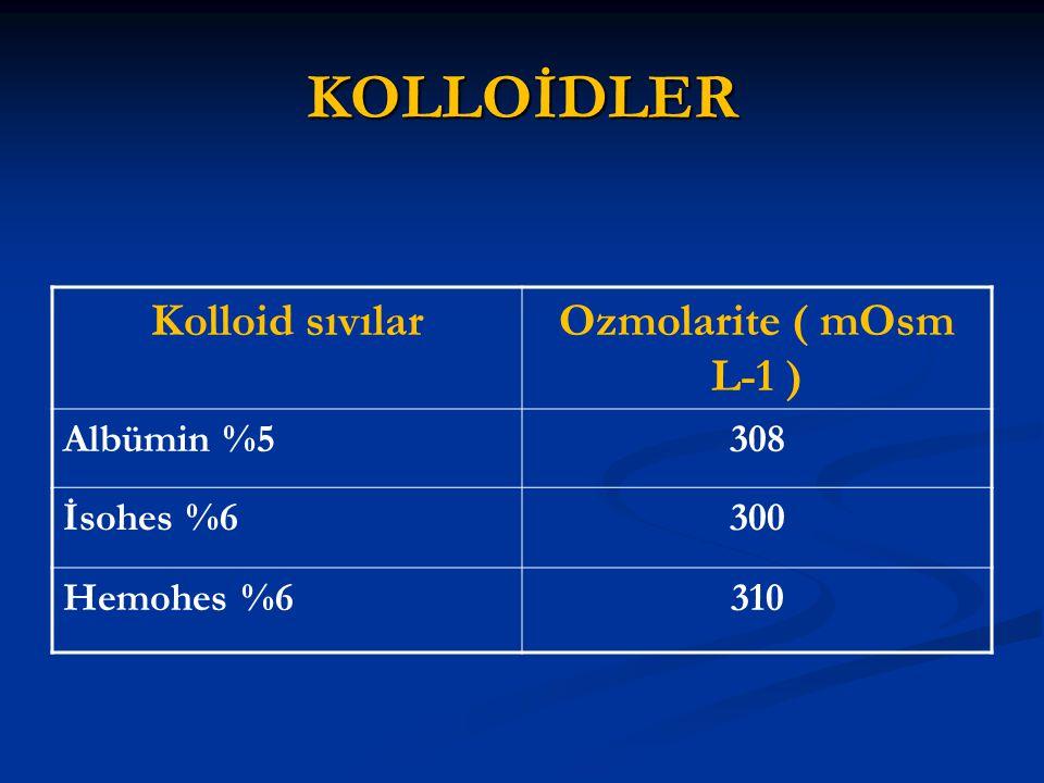 KOLLOİDLER Kolloid sıvılar Ozmolarite ( mOsm L-1 ) Albümin %5 308