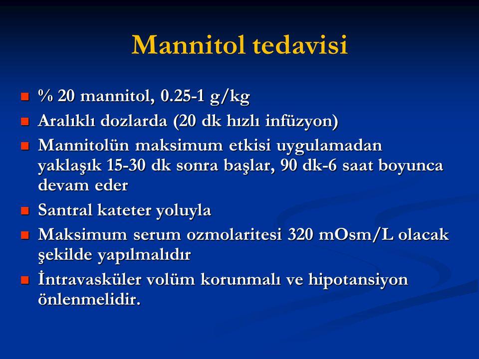 Mannitol tedavisi % 20 mannitol, 0.25-1 g/kg