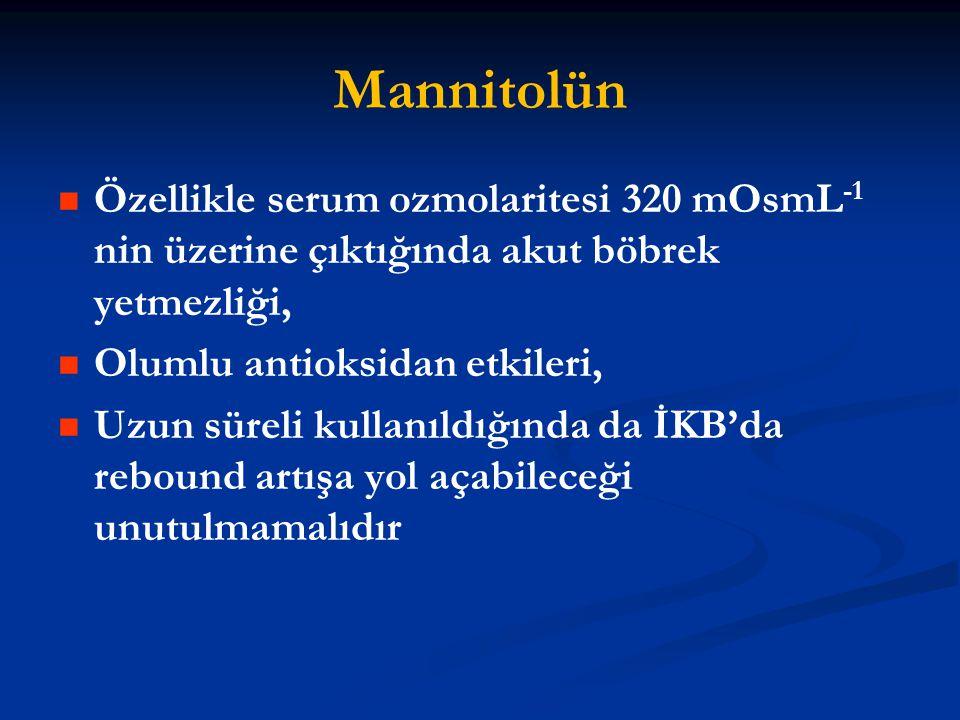 Mannitolün Özellikle serum ozmolaritesi 320 mOsmL-1 nin üzerine çıktığında akut böbrek yetmezliği, Olumlu antioksidan etkileri,
