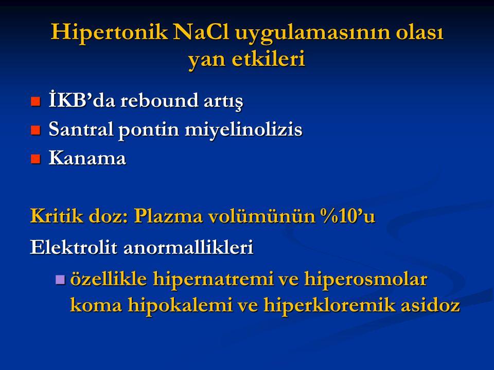 Hipertonik NaCl uygulamasının olası yan etkileri